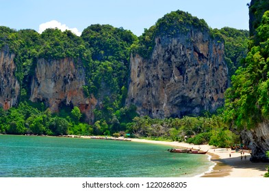 Tonsai, Krabi province, Thailand - April 24, 2017: High angle view of the Tonsai beach between Ao Nang and Railay.
