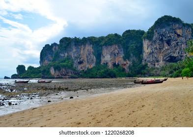 Tonsai, Krabi province, Thailand - April 24, 2017: The Tonsai beach between Ao Nang and Railay at low tide.