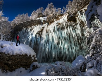 I took this environmental self portrait under frozen waterfall Peri?nik wich is one of the biggest in Slovenija. Taken last winter when was cold enough to freeze the waterfall.