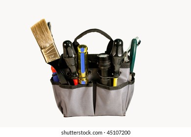 tool bag full of hand-tools isolated over white background, with clipping path