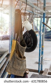 Tool Bag hang on scaffold in construction site