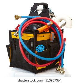 Tool bag and instruments. Over white background