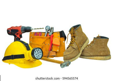 Tool belt with construction tools,helmet,drill and shoes.