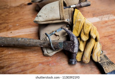 Tool Belt with hammer and gloves
