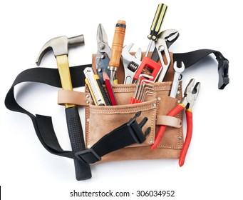 tool belt with tools against white background