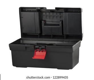 Tool box with open lid isolated on white background