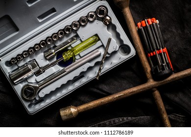 Tool box, Tool set with mechanical tools for working in auto rep