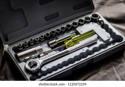 Tool box, Tool set with mechanical tools for working.