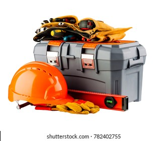 Tool box with toolbelt, orange helmet and yellow gloves isolated on white background