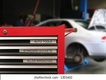 Tool Cabinet with car in the background