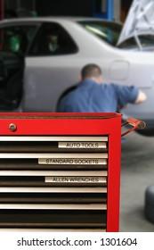 Tool cabinet at the mechanics