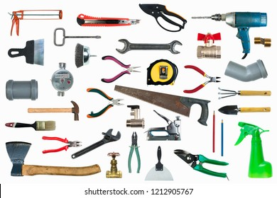 Tool collage isolated on a white background depicting carpentry and construction tools. Top view