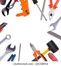 Tool collage on white background with the image of construction and repair tools.