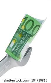 tool and european euro banknotes. photo icon bargaining