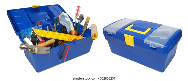 Tool kit in blue box. Isolated on white background