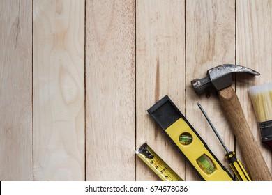 tool kit renovation on brown wood
