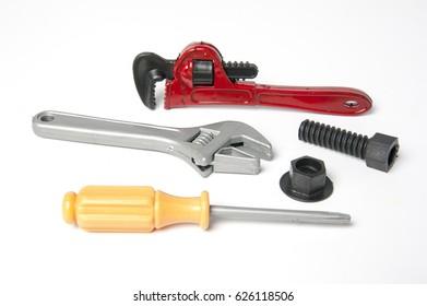 tool plastic toys on white background
