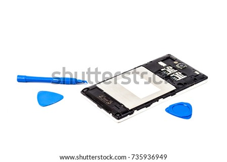 Tool Repair Mobile Smartphone On White Stock Photo (Edit Now