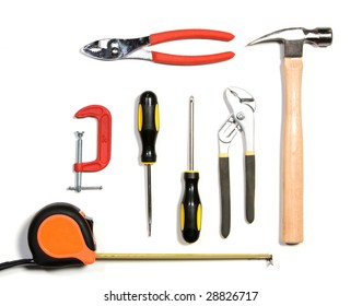 Tool set isolated on white in the studio