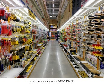 Tool supplies in the construction store warehouse in Thailand Hua Hin, Thailand February 18,2017