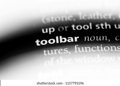 toolbar word in a dictionary. toolbar concept.