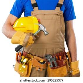 Toolbelt, handyman, isolated.