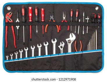 Toolbelt with set of tools - screwdrivers nippers wrenches spanners pliers allen keys isolated on white - DIY consept