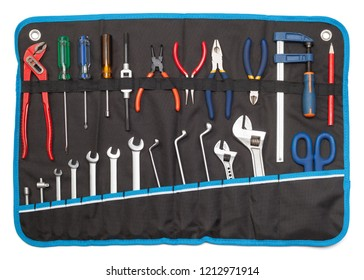 Toolbelt with set of tools - screwdrivers nippers wrenches spanners pliers  scissors isolated on white - DIY consept