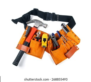 toolbelt with various tools isolated on white