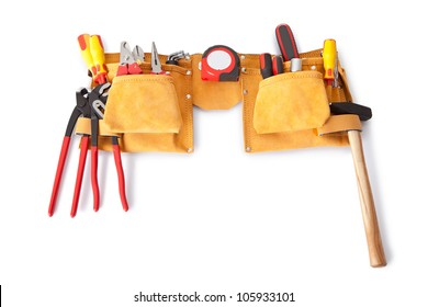Toolbelt with various tools lying on the bench