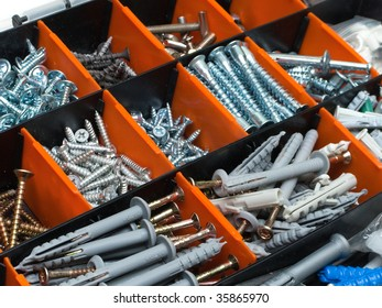 Toolbox - box with metal bolt, nut, screw, nail