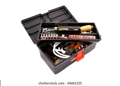 Toolbox full of tools isolated on white background