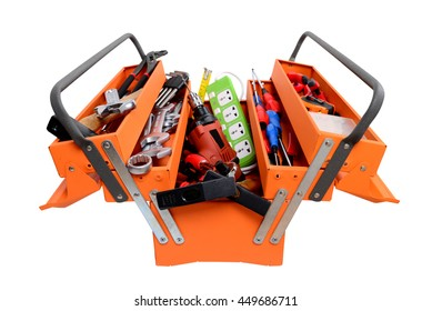 Toolbox with instruments isolated on white background