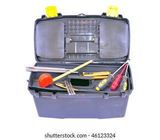Toolbox with several different tools, isolated on white with clipping path