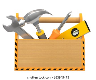Toolbox with tools on a white background. 3d render.