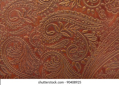 Motif floral à outils en cuir marron