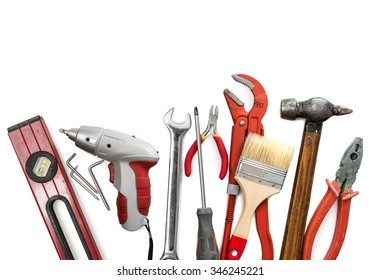 toolkit of different instruments isolated on white background