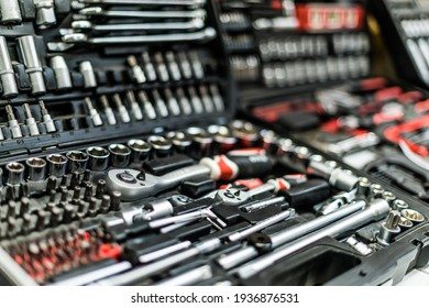 Toolkits put up for sale in a hardware store.
