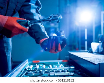 Tools in auto repair service. Close up