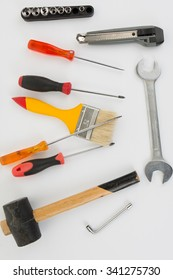 Tools for builder or handyman  isolated on white background