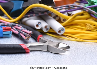 Tools and cables used in electrical home installation