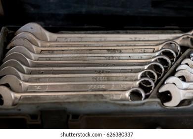 Tools for car repair in the workshop