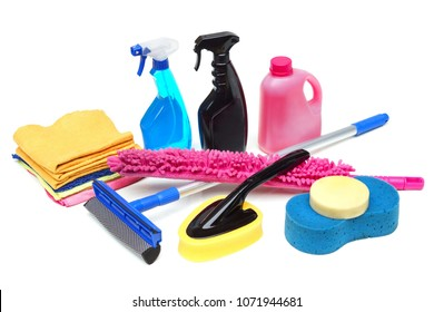 Tools for car wash and clean consisting of sponge, duster, brush, chemical, microfiber brush isolated on white