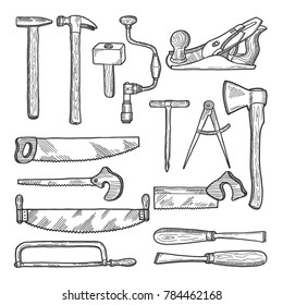 Tools in carpentry workshop. hand drawn illustration. Set of tools for carpentry, equipment hammer and saw
