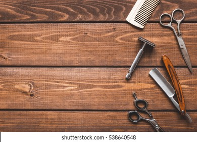 Tools for cutting beard. barbershop top view