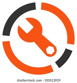 Tools Diagram raster icon. Style is bicolor flat symbol, orange and gray colors, rounded angles, white background.