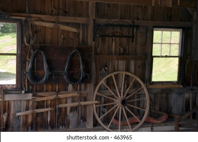 tools and equipment inside barn
