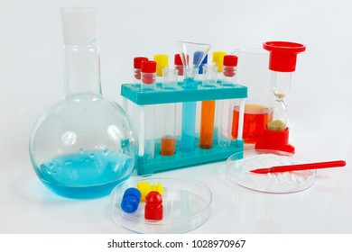 Tools and equipment for medical research on a white background