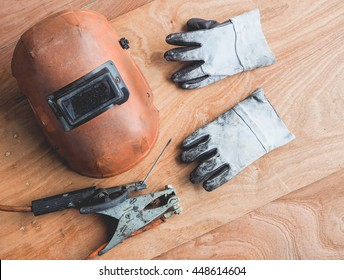 Tools and equipment safety for metal welding job on plywood.