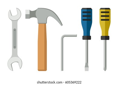 Tools in flat style. Icons of screwdrivers spanner, hammer. Raster version